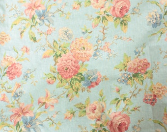 Vintage English Cabbage Rose Floral Botanical Linen Fabric Custom Drapery Panels