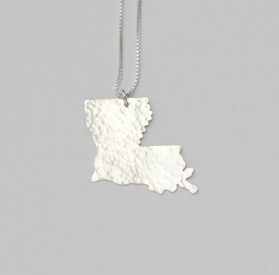 Louisiana Necklace. Custom State Shaped Jewelry Map Art Charm. I Heart State of Louisiana Handmade New Orleans Outline Pendant.
