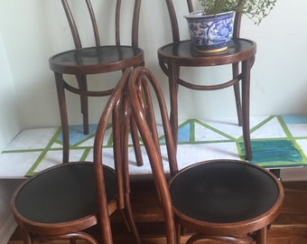 SOLD Thonet Style Bentwood chairs//four  Bentwood Chairs///mcm bistro Chairs