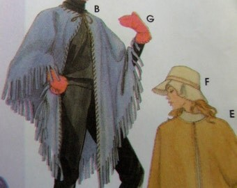 FRINGED PONCHO Pattern • Simplicity 5349 • Miss XS-M • Cape & Purse •  Hat and Mittens • Sewing Patterns • Modern Patterns • WhiletheCatNaps