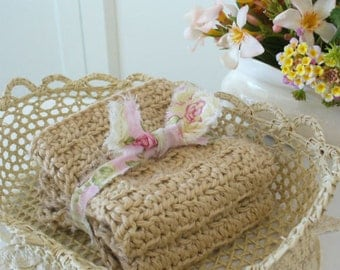 TAUPE Crochet Cotton Cloths - Handmade by WeeWoollyBurros