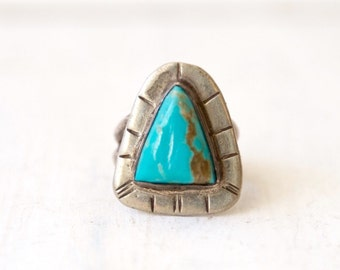 VC-51, Southwestern, Native American vintage turquoise and nickle ring