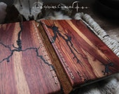 Fractals of Time     Hand made custom exotic wood leather bound journal book