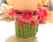 Piggy Pig Coffee Cozy Cosie PDF Crochet Pattern Instant Download