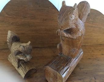 Handcarved Vintage Woodland Squirrels