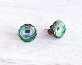 Peacock Feather Stud Earrings - Peacock Collection - Bridesmaid Gift, Wedding Jewelery, Boho Earrings