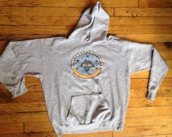 Vintage USS Dwight D. Eisenhower aircraft carrier ship hoodie sweatshirt USA XL