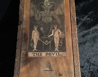 Antique Tarot Card Storage Box Red Devil Wooden Box with Large Chunky Raw Quartz Crystal at Gothic Rose Antiques