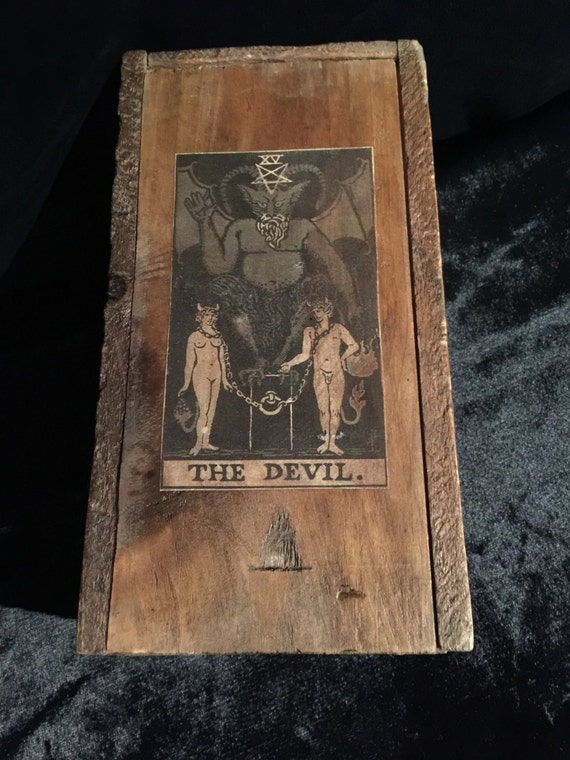 Antique Tarot Card The Fool: Antique Tarot Card Storage Box Red Devil Wooden Box With Large