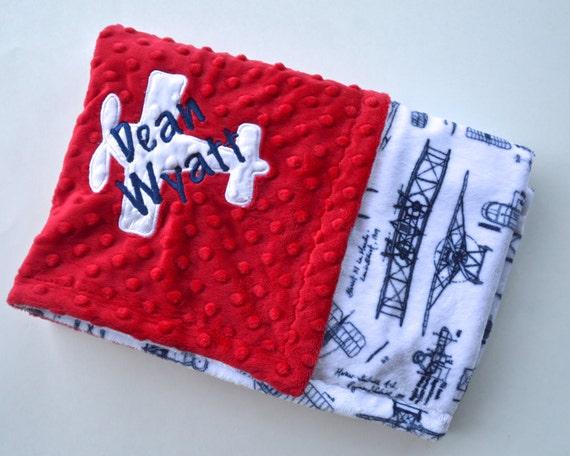 Monogrammed Baby Blanket Minky Personalized Vintage