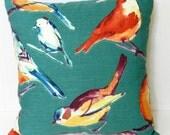 Birds Pillow Cover Turquoise, Green, Orange, Purple, Gold, Richloom Cotton Slub  Fabric 18 x 18 inch with invisible zipper closure