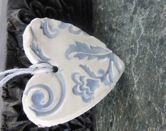 Lavender and White Brocade Heart Ornament