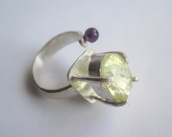 Lemonquartz and Amethyst Ring ./. Yellow and Purple Stone Ring ./. Bague Pierres ./. Sterling Silver Stone Ring ./. Handforged Silver Ring
