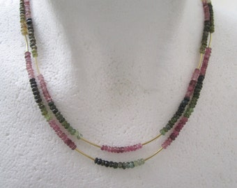 Two Strand Tourmaline Necklace ./. Mixed Color Gemstones ./. Collier Pierres ./. Made in Sweden ./. Gift for a Lady ./. Dainty Necklace
