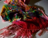 "Silk velvet scarf  -  large -  Spring Awakening  - Hand dyed and painted scarf - 11"" x 56"""
