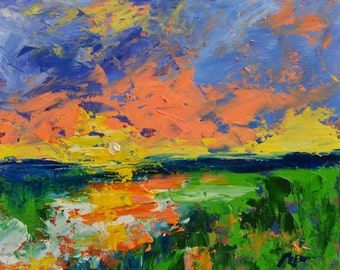 Morning Arrival  - Original Abstract Oil Painting Landscape Painting by Claire McElveen , 12 x 16 Wetlands Saltwater Marsh
