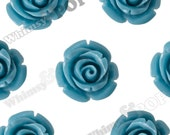 12mm Cornflower Blue Rose Beads, Flower Beads, Drilled Flowers, 12mm Flower Beads, Resin Flower Beads, Flowers With Holes, 1mm Hole (R9-106)