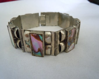 Vintage Abalone Link Bracelet Signed Silver Mexico