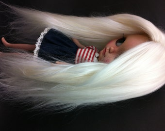 Made to order/Doll hair/Suri Alpaca hair/Blythe doll hair/Platinum blonde/re-root scalp for Blythe doll 15 inches