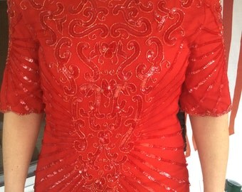 Vintage Red Beaded Mini Christmas,New Years Eve Dress
