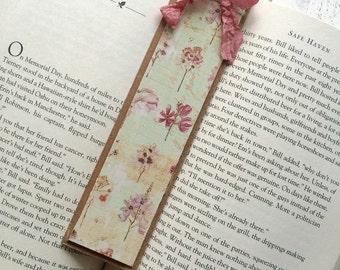 Beautiful Handmade Wood Bookmark, Floral Bookmark, Shabby Chic Bookmarks, Secret Garden Bookmark