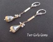 Vintage Earrings ,Swarovski Crystal, two toned gold jewelry earrings,  Two Girls Gems
