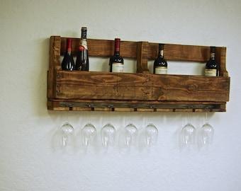 "Reclaimed wood pallet Wine rack american rustic kitchen farmhouse Furniture w/ wine glass holders Storage boho primitive 10 bottle wine 40"""