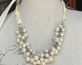 pearl bridesmaid ivory pearl necklace with ivory ribbon closure