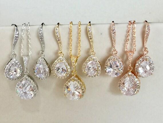 Wedding Jewellery Gift Sets : Bridesmaid jewelry gift set on gift cards, wedding jewelry, rose gold ...