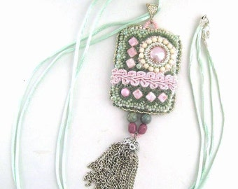 Christmas in July ON SALE Long Necklace with Bead Embroidered Pendant, Beaded necklace, Gifts for women, Summer Necklace, Chabby chick