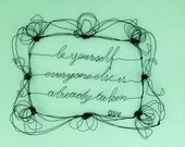 Wire wall art -  Wire words sculpture - framed quotes - wedding signs - personalized sculptures - silent film