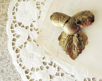 1920s brass leaf brooch - vintage metal leaves and berry design - Art Nouveau dsign - statement costume jewelry