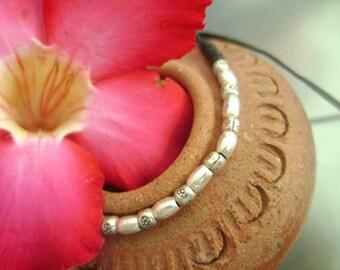 Waxed Cord Adjustable Silver Beaded Bracelet (19)