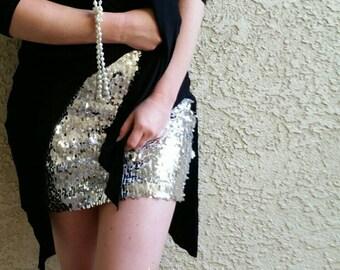 Silver Sequin Skirt - Stretchy, beautiful, fun mini skirt (Small, Medium, Large, XLarge) Runs snug.