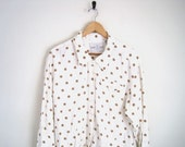 Polka Dot Shirt White Dotted Button Down Blouse Oversized Loose Slouchy Long Sleeves Pointed Collar 1980s 80s Women Vintage Cuffed Basic