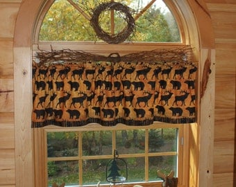 northwoods moose bear cabin lodge country curtain window valance