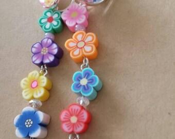 Sale was 10 now 9uk Silvertone Leverback Small Faux Milli Fiori Rainbow Dangel Flower earrings.