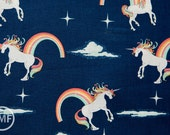 Unicorns and Rainbows Main in Navy Blue, Doohikey Designs, Riley Blake Designs, 100% Cotton Fabric, C3710-Navy