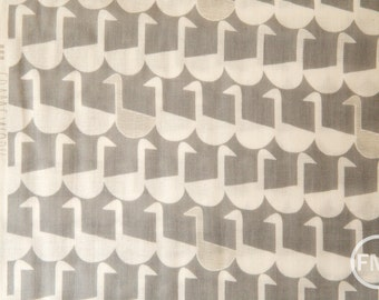 Framework Sitting Geese in Grey, Ellen Baker for Kokka Fabrics, Double Gauze Cotton Fabric, JG-41800-802A