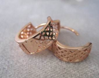 Petite Rose Gold Huggies with Square and X Design