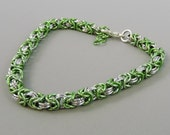 Micro Chainmail Bracelet, Lime Green and Silver Color Chainmaille Bracelet, Chain Mail Jewelry, Byzantine Bracelet, Green Braclet