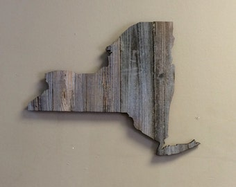 "New York State Shape Rustic Wood Sign Hanger 19.5"" x 15""  Laser Engraving Options - Wedding, Housewarming, Birthday, Anniversary"