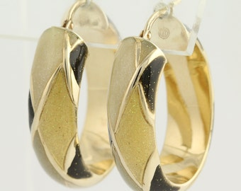 Oval Enameled Hoop Earrings - 14k Yellow Gold Pierced Snap Closures L8979