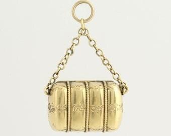 Victorian Era Locket - 15k Yellow Gold Etched Antique Keepsake L9124