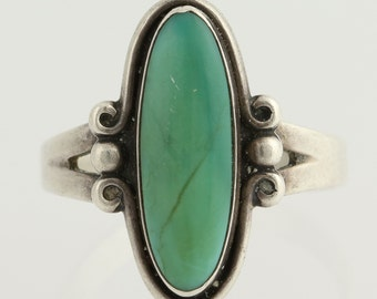 Turquoise Ring - Sterling Silver Native American 7 3/4 L9051