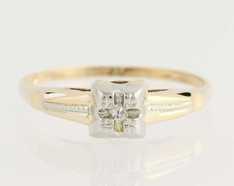 Vintage Diamond Engagement Ring - 14k Yellow & White Gold Solitaire .02ct Unique Engagement Ring N2446