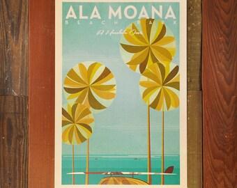 Ala Moana Beach Park - 12x18 Retro Hawaii Travel Print