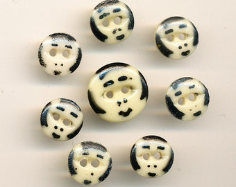 """Antique Vintage China  Stencil Buttons - Lot of 8  Faces in Black and Cream - 7/16"""" to 5/8"""""""