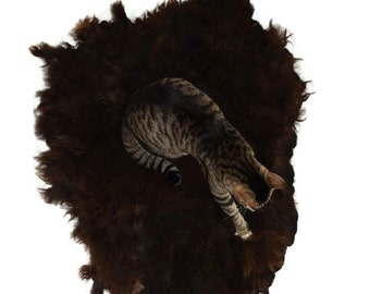 Cat Bed Hand Felted Wool Fleece Sheep-friendly Rustic Pet Rug- Navajo Churro Brown - Supporting American Small Farms