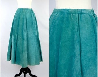 Vintage southwestern teal suede leather skirt / Lanna soft genuine skirt
